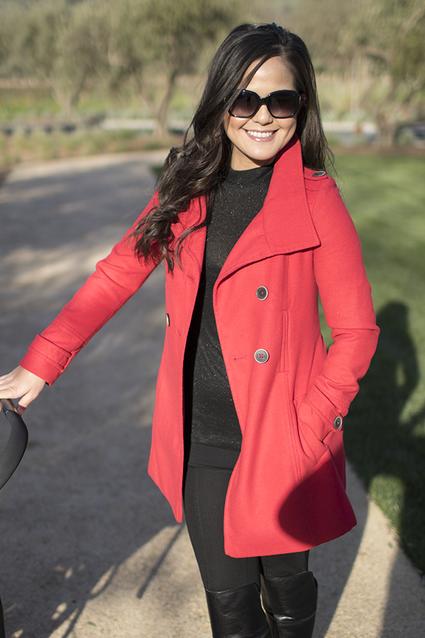 Napa Reds {coat} + Traveling with a Baby