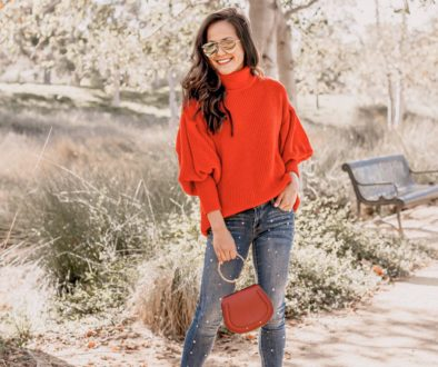 Red Sweater + Pearl Jeans